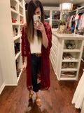 Lace Goals Duster in Wine