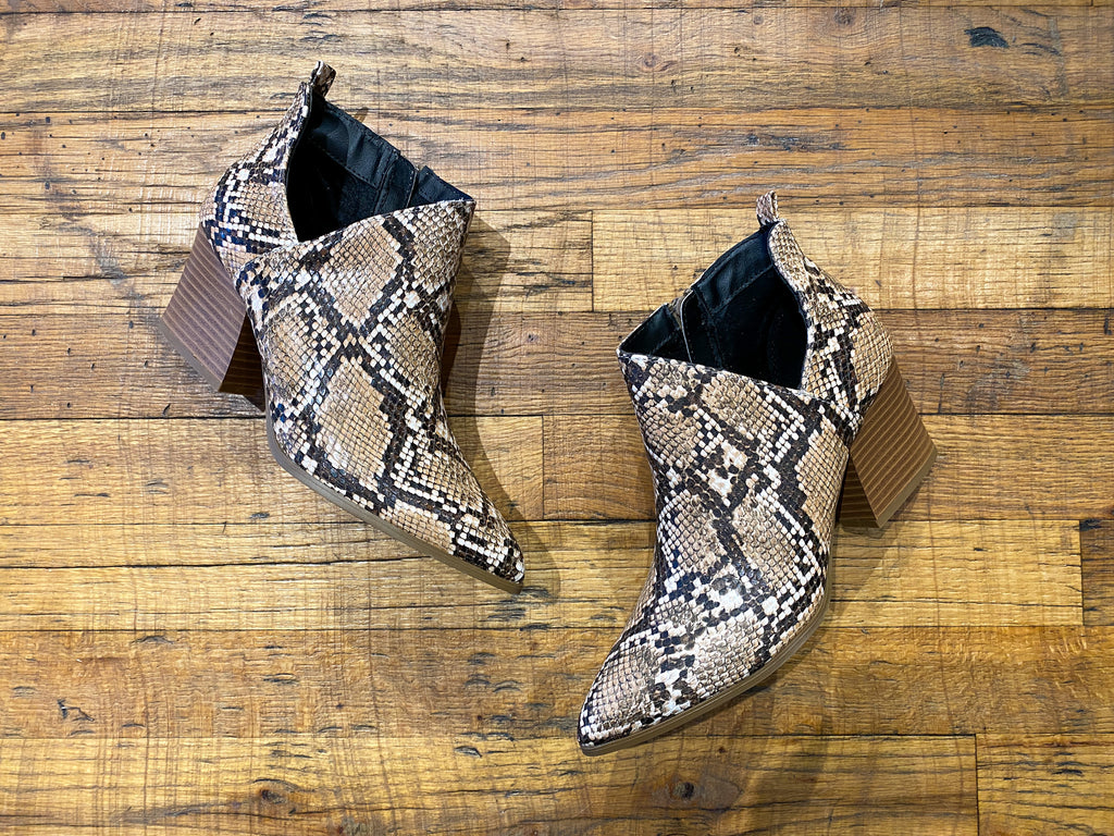 Native Pointy Toe Booties in Brown Snake