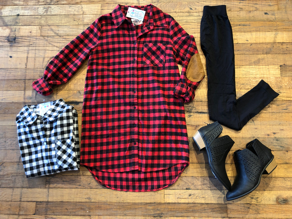 Snow in Steamboat Plaid Tunic in White and Red