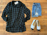 Foster Crossover Plaid Top in Black/Green