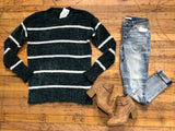 Spencer Striped Sweater in Hunter