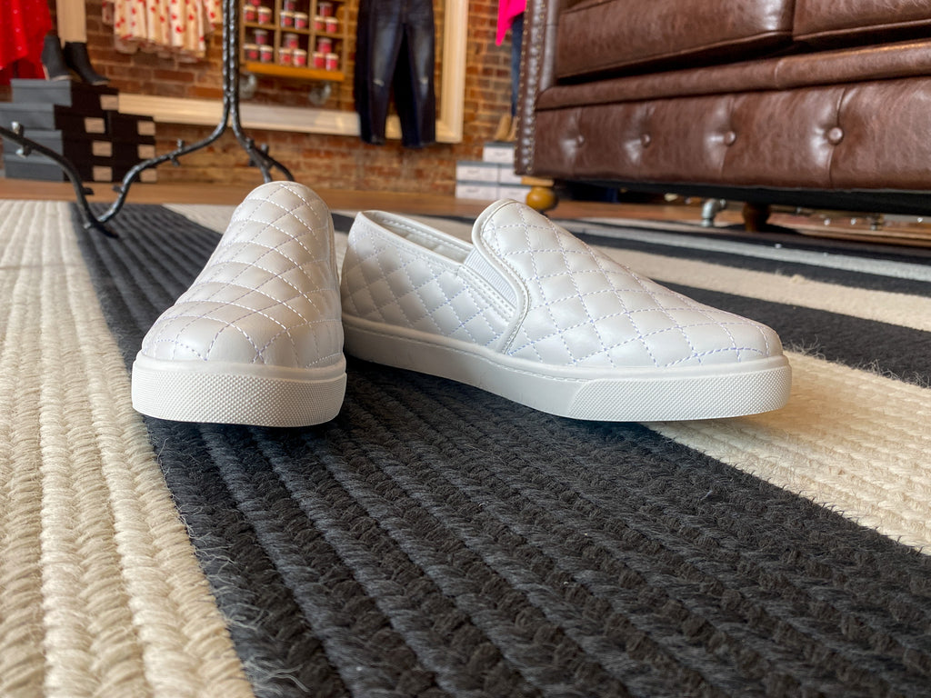 SALE! Quilted Slip-On Sneakers in White