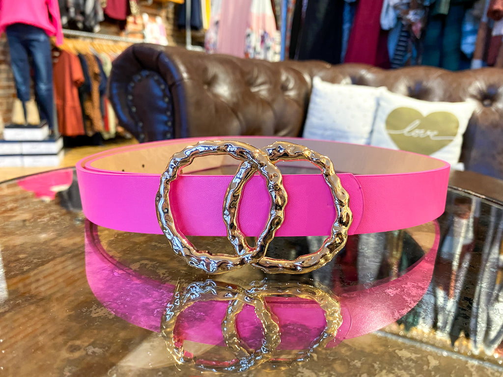 Hammered Double Ring Belt in Neon Pink
