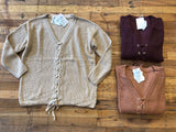 SALE! Adams Lace Up Sweater in Oatmeal, Burgundy, and Rust