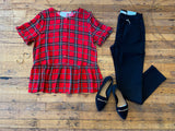 Full of Joy Plaid Peplum Top
