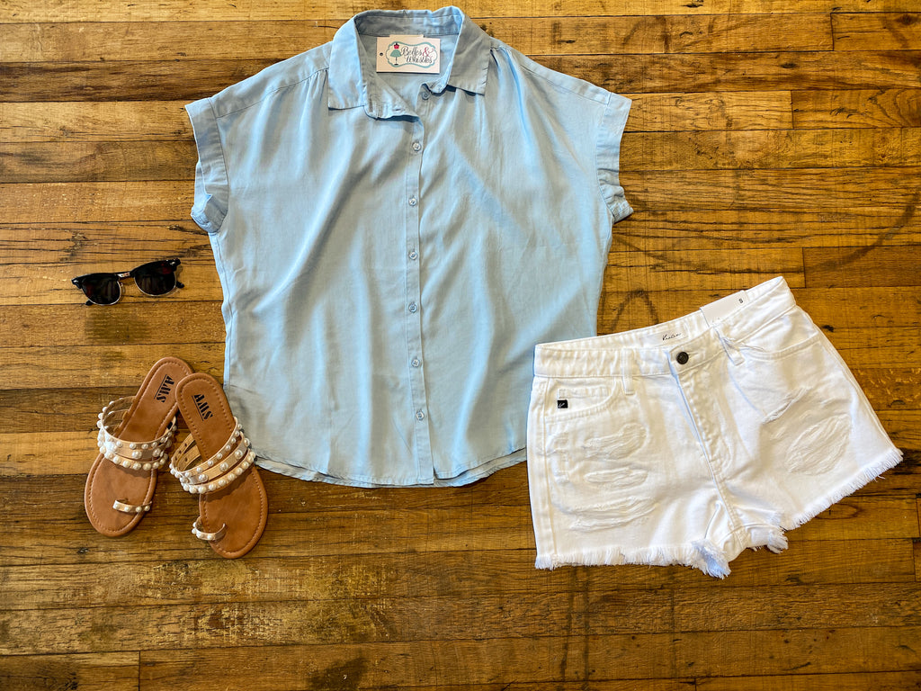 Hepburn Button Down in Light Chambray