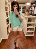 City Chic Top in Mint and Mauve
