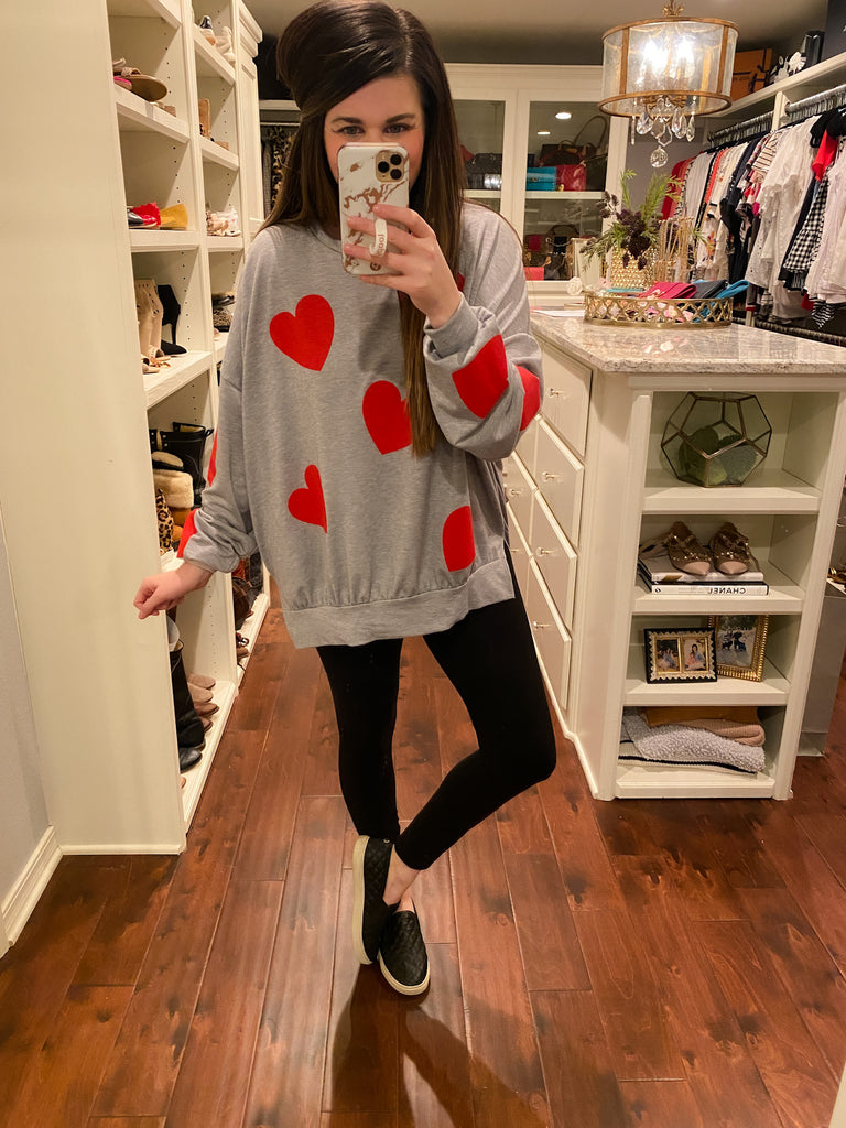 All for Love Pullover in Gray/Red