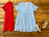 Best Day Swiss Dot Dress in Red and Sky Blue