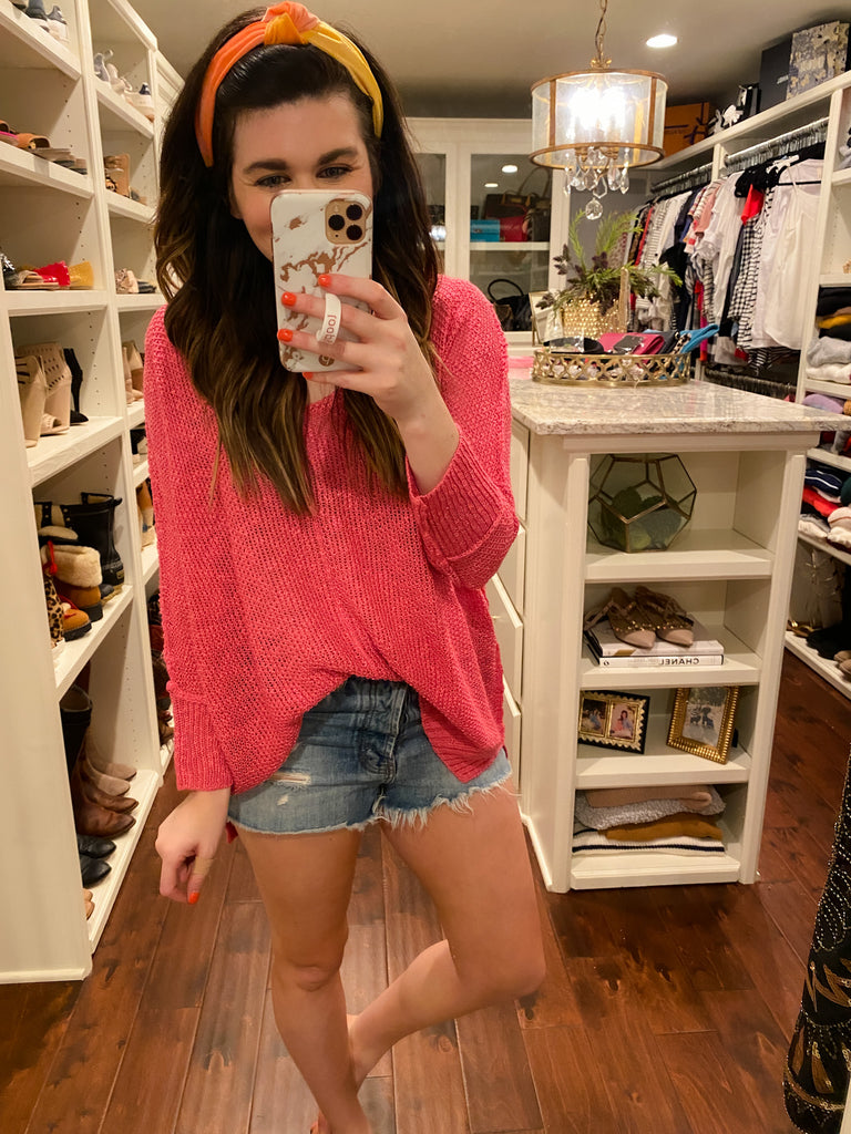 Welcome the Day Sweater in Hot Pink