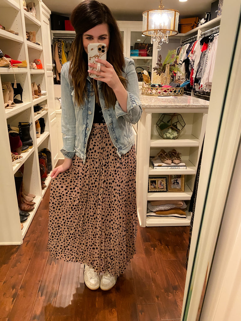 Wow Factor Pleated Leopard Midi Skirt