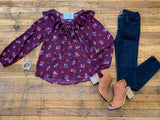 SALE! Fall Floral Frill Blouse in Wine