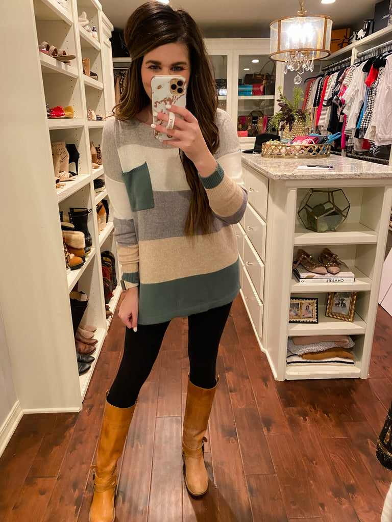 Weekend Brunch Color Block Sweater in Green