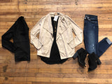 Luxe Life Suede Jacket in Black and Taupe