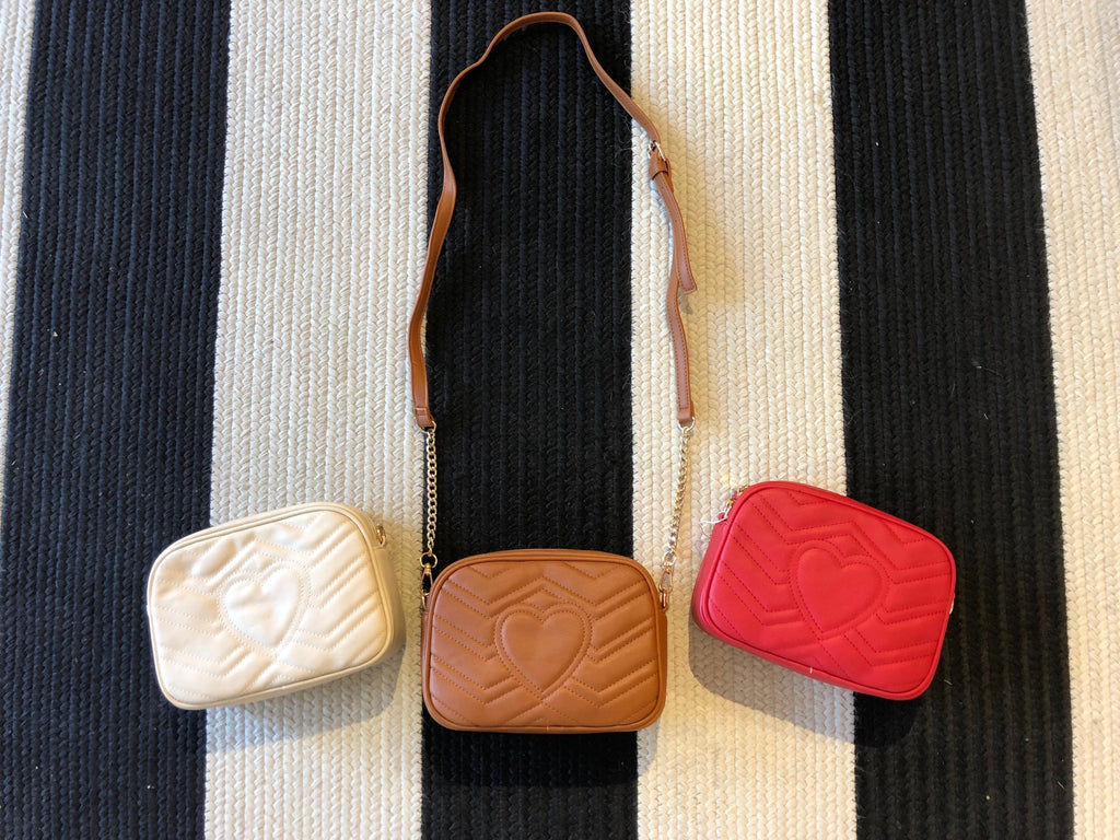 Quilted Crossbody Bags in Beige, Brown, and Red