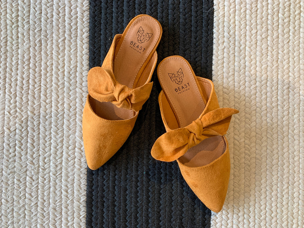 Bow Mules in Mustard