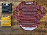 *BELLES & STEALS*  Tanner Striped Top in Black, Mustard, and Rust