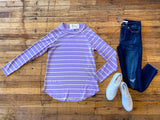 Spring Stripes Top in Lavender/Yellow