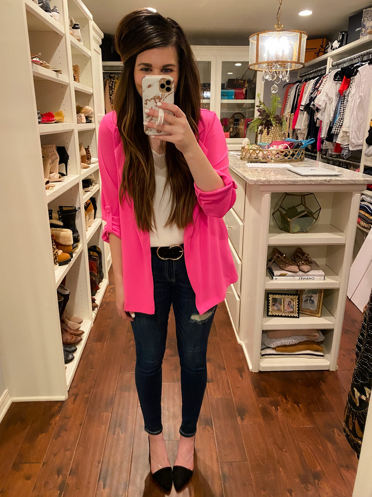Bullet Point Blazer in Hot Pink