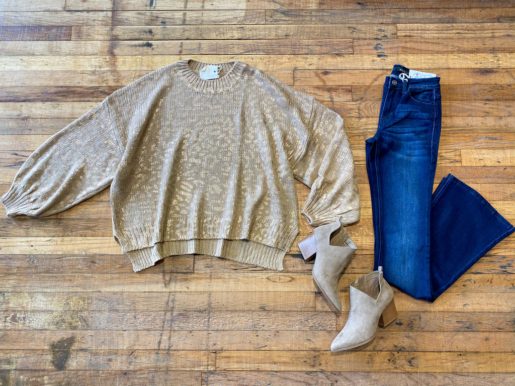 Subtle Shine Leopard Sweater