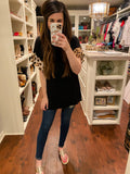 Easy Street Leopard Sleeve Top