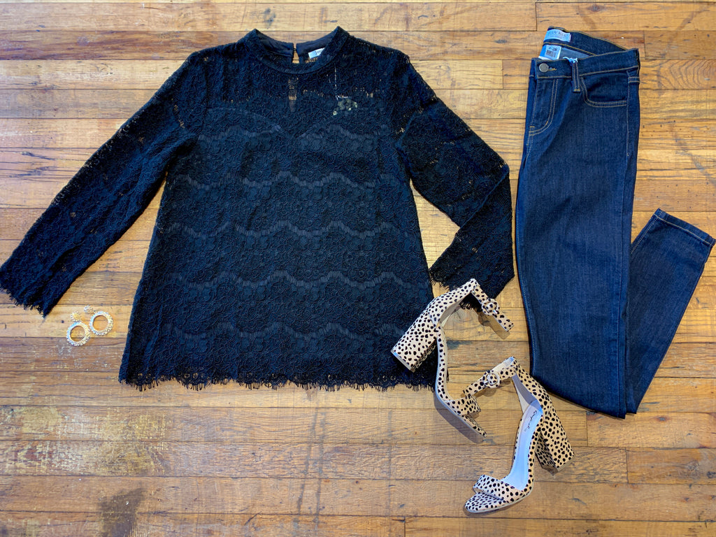 Jordana Black Lace Top