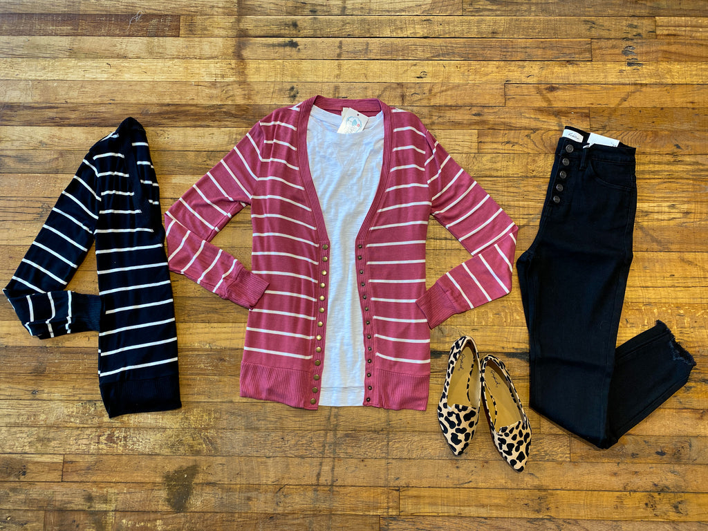*BELLES & DOORBUSTER* Button Cardigan in Black and Rose Stripes