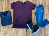 *BELLES & STEALS* Mandy Mineral Washed Tee in Charcoal and Dark Wine