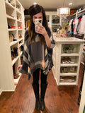 SALE! Effortless Chic Poncho in Charcoal Plaid