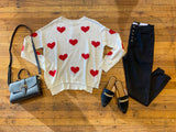 Give You All My Love Sweater in White/Red