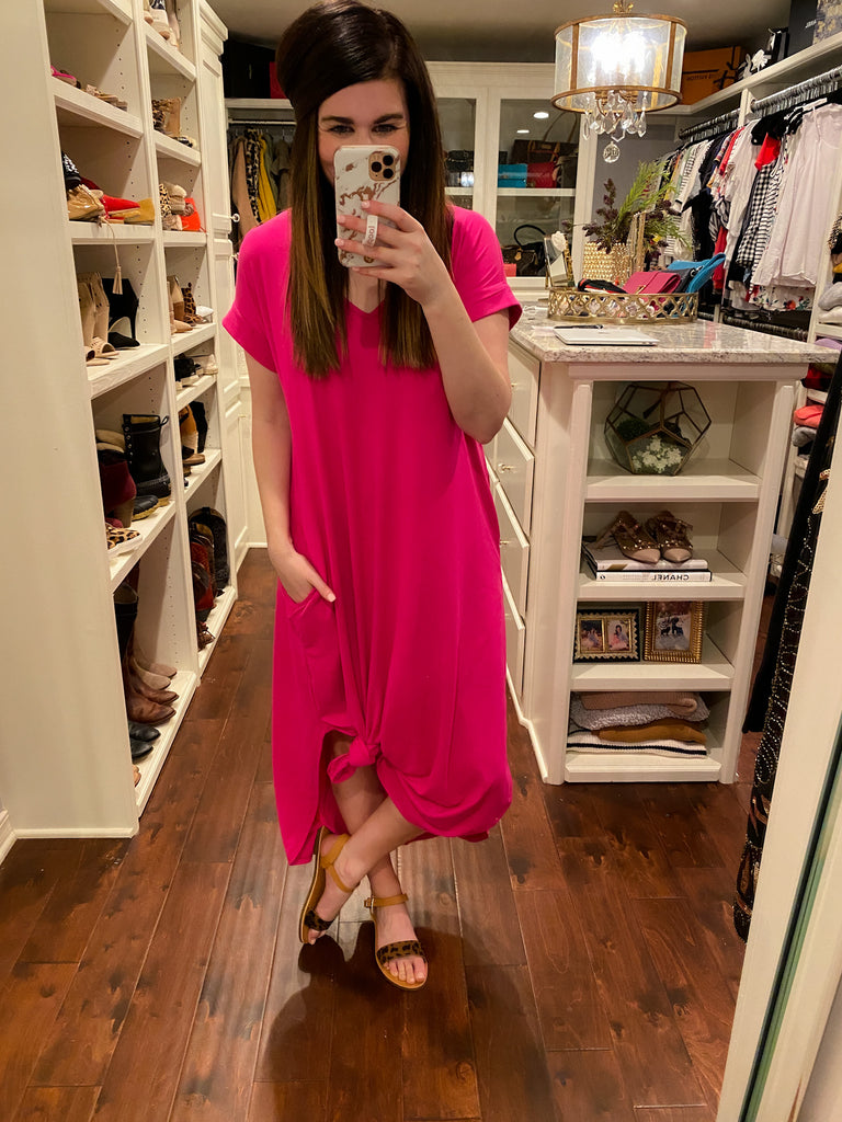 Sealy Maxi Dress in Navy and Hot Pink