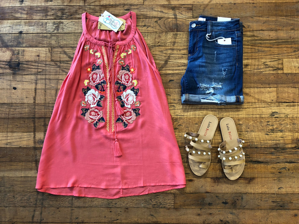 West Coast Weekend Embroidered Tank in Coral