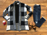 Sutherland Check Cardigan in Black