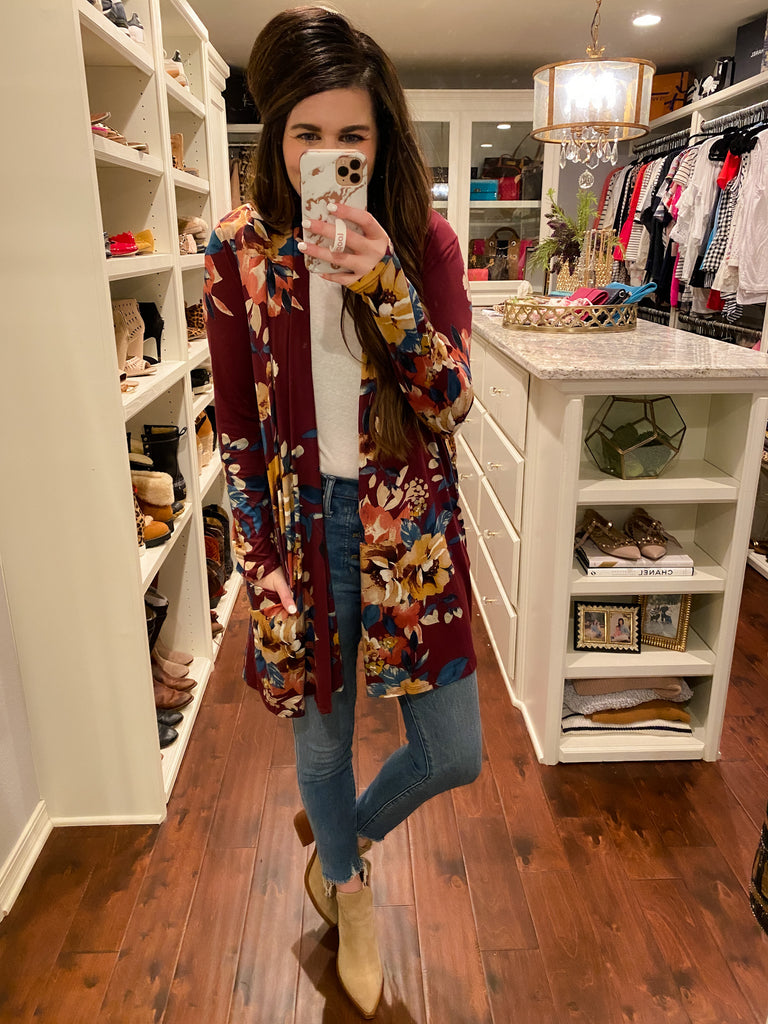 When in Maine Floral Kimono in Burgundy