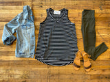 *BELLES & STEALS* Every Day Striped Layering Tank in Black/White