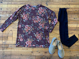 Sophia Floral Pocket Top in Wine