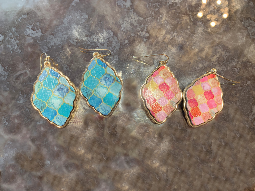 Mosaic Earrings in Blue and Coral