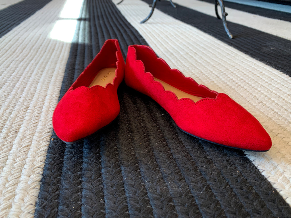 Scalloped Flats in Red
