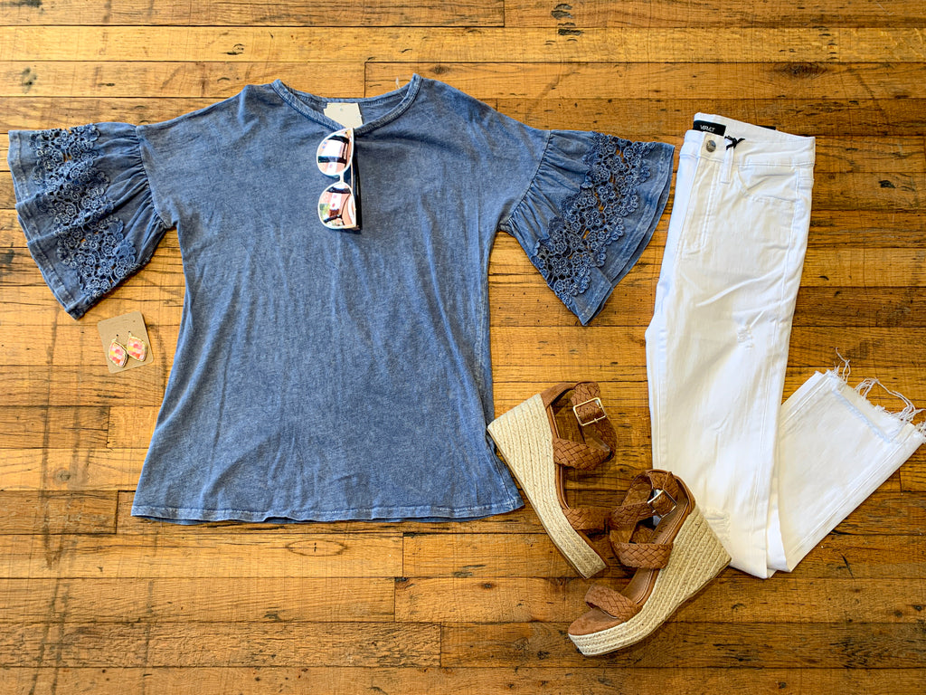 Jana Mineral Washed Top in Blue