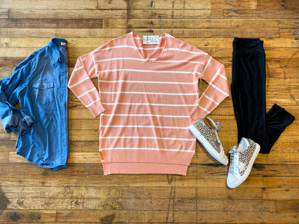 Mountain Home Striped Sweater in Carrot