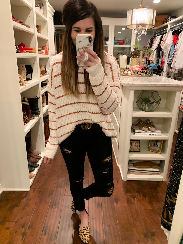 Chaplin Striped Sweater in Cream/Camel