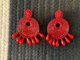 Coco Beaded Earrings in Red