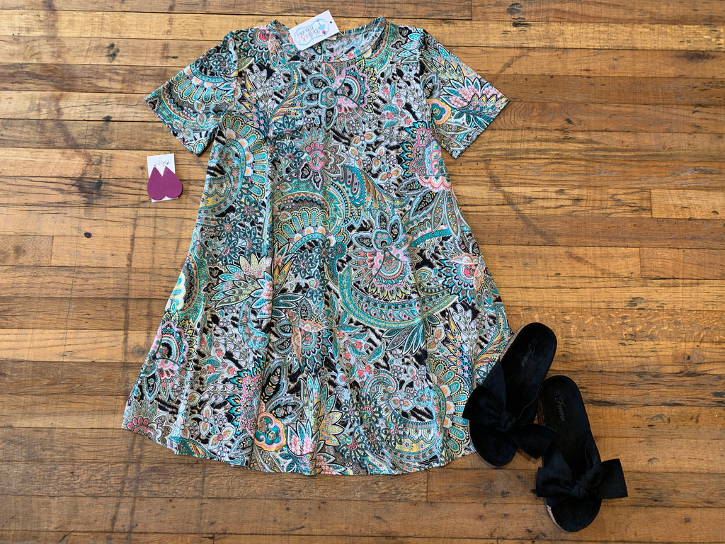 Paisley Paradise Dress in Mint