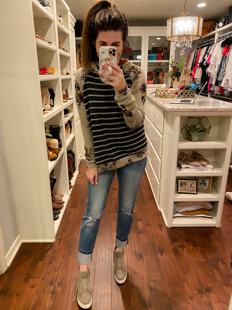 Carr Floral and Striped Hooded Sweatshirt