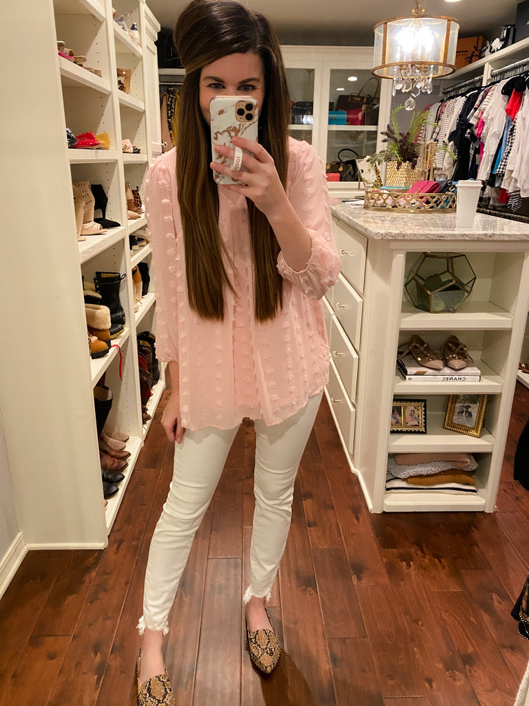 Emilia Swiss Dot Top in Blush
