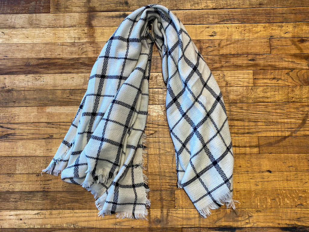 Grid Print Scarf in White/Black