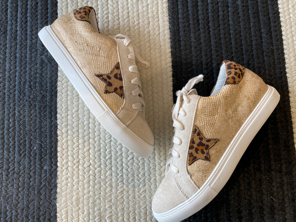 Seeing Stars Sneakers in Gold Snake/Leopard