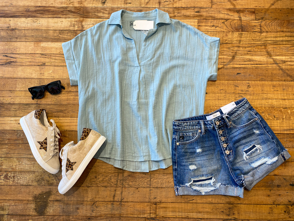 Courtland Top in Seafoam