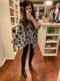 Effortless Poncho in Gray Leopard
