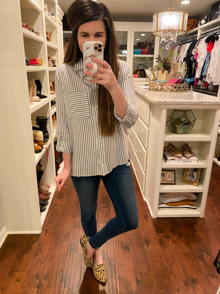 *BELLES & STEALS* Chelsey Button Down in Gray